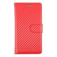 Carbon PU kožené zapínací pouzdro na Huawei P9 - červené