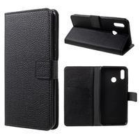 Litch PU kožené peněženkové pouzdro na mobil Honor Play - černé