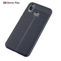 Litchi odolný silikonový kryt na mobil Honor Play - tmavěmodrý