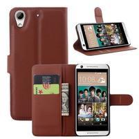 Leathy PU kožené pouzdro na mobil HTC Desire 650 - hnědé