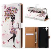 Emotive knížkové pouzdro na mobil HTC Desire 650 - květinová dívka
