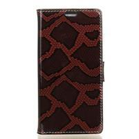 SnakeStyle PU kožené peněženkové pouzdro na HTC One A9s - červené