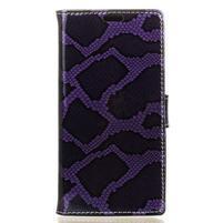 SnakeStyle PU kožené peněženkové pouzdro na HTC One A9s - fialové