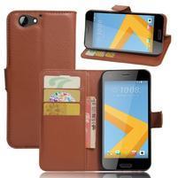 Graines PU kožené pouzdro na HTC One A9s - hnědé