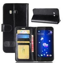 Crazy Pu kožené peněženkové pouzdro na mobil HTC U11 - černé