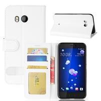Crazy Pu kožené peněženkové pouzdro na mobil HTC U11 - bílé