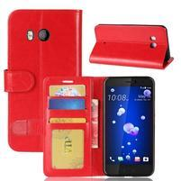 Crazy PU kožené peňaženkové puzdro na mobil HTC U11 - červené