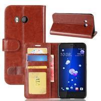 Crazy Pu kožené peněženkové pouzdro na mobil HTC U11 - hnědé