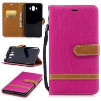 Jeany PU  kožené/textilní pouzdro na Huawei Mate 10 - magenta