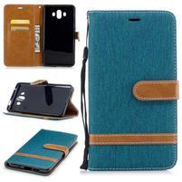Jeany PU  kožené/textilní pouzdro na Huawei Mate 10 - zelenomodré