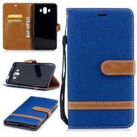 Jeany PU  kožené/textilní pouzdro na Huawei Mate 10 - modré