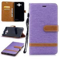 Jeany PU  kožené/textilní pouzdro na Huawei Mate 10 - fialové