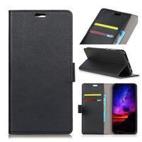 Standy PU kožené knížkové pouzdro na Huawei Mate 10 - černé