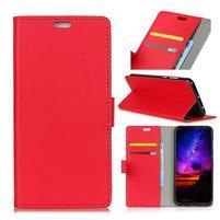 Standy PU kožené knížkové pouzdro na Huawei Mate 10 - červené
