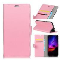 Standy PU kožené knížkové pouzdro na Huawei Mate 10 - růžové