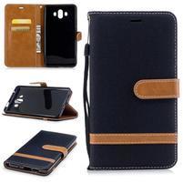 Jeany PU  kožené/textilní pouzdro na Huawei Mate 10 - černé