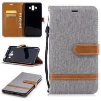 Jeany PU  kožené/textilní pouzdro na Huawei Mate 10 - šedé