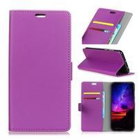 Standy PU kožené knížkové pouzdro na Huawei Mate 10 - fialové