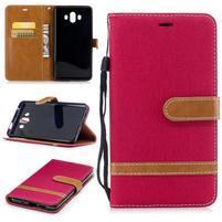 Jeany PU  kožené/textilní pouzdro na Huawei Mate 10 - červené