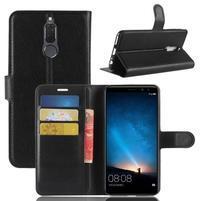 Skiny PU kožené peněženkové pouzdro na Huawei Mate 10 Lite - černé