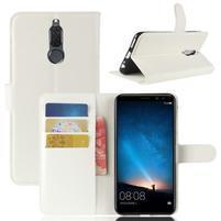 Skiny PU kožené peněženkové pouzdro na Huawei Mate 10 Lite - bílé