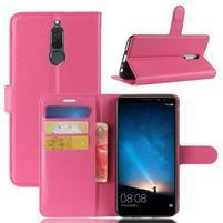 Skiny PU kožené peněženkové pouzdro na Huawei Mate 10 Lite - rose