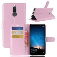 Skiny PU kožené peněženkové pouzdro na Huawei Mate 10 Lite - růžové