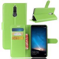 Skiny PU kožené peněženkové pouzdro na Huawei Mate 10 Lite - zelené