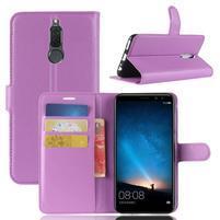 Skiny PU kožené peněženkové pouzdro na Huawei Mate 10 Lite - fialové