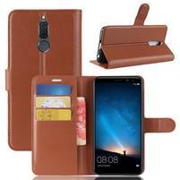 Skiny PU kožené peněženkové pouzdro na Huawei Mate 10 Lite - hnědé