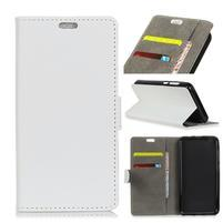 Standy PU kožené zapínací pouzdro na Huawei Mate 10 Lite - bílé