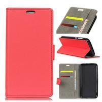Standy PU kožené zapínací pouzdro na Huawei Mate 10 Lite - červené