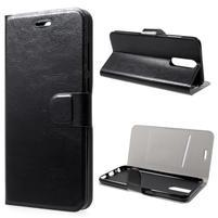 Horse PU kožené zapínací pouzdro na Huawei Mate 10 Lite - černé