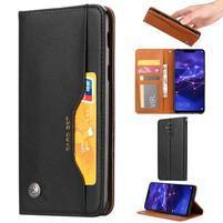 Simple PU kožené peněženkové pouzdro na Huawei Mate 20 Lite - černé
