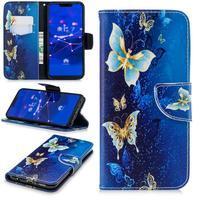 Patty PU kožené flipové pouzdro se stojánkem na Huawei Mate 20 Lite - zlatí motýli
