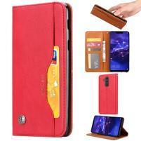 Simple PU kožené peněženkové pouzdro na Huawei Mate 20 Lite - světlečervené