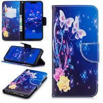 Patty PU kožené flipové pouzdro se stojánkem na Huawei Mate 20 Lite - modří motýlci
