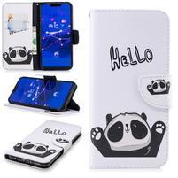 Print PU kožené peněženkové pouzdro na mobil Huawei Mate 20 Lite - hello panda