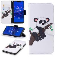 Print PU kožené peněženkové pouzdro na mobil Huawei Mate 20 Lite - panda na větvi