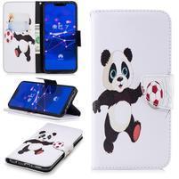 Print PU kožené peněženkové pouzdro na mobil Huawei Mate 20 Lite - panda s míčem