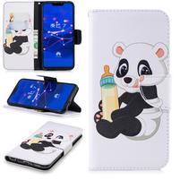 Print PU kožené peněženkové pouzdro na mobil Huawei Mate 20 Lite - panda