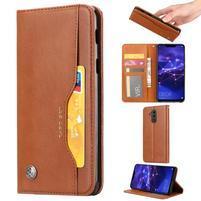 Simple PU kožené peněženkové pouzdro na Huawei Mate 20 Lite - hnědé
