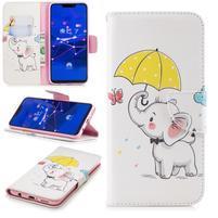 Print PU kožené peněženkové pouzdro na mobil Huawei Mate 20 Lite - slon