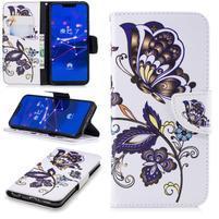 Print PU kožené peněženkové pouzdro na mobil Huawei Mate 20 Lite - motýli s květy
