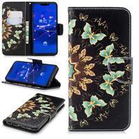Print PU kožené peněženkové pouzdro na mobil Huawei Mate 20 Lite - motýlci