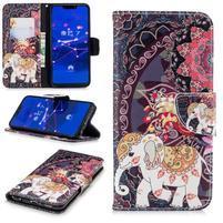 Print PU kožené peněženkové pouzdro na mobil Huawei Mate 20 Lite - slon a páv
