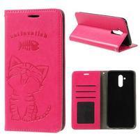 Cat PU kožené peněženkové pouzdro na mobil Huawei Mate 20 Lite - rose