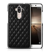 Grid PU kožený/plastový obal na Huawei Mate 9 - černý