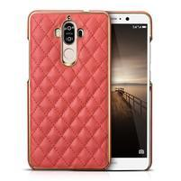 Grid PU kožený/plastový obal na Huawei Mate 9 - červený
