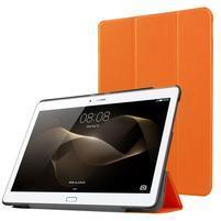 Trifold PU kožené pouzdro na Huawei MediaPad M2 10.0 - oranžové